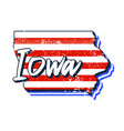 american flag in iowa state map grunge style with vector image vector image