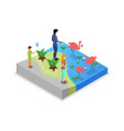 cage with flamingos isometric 3d icon vector image