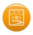 calendar eleventh november icon orange vector image vector image