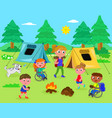 camping with disabled kids vector image vector image
