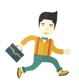 Chinese Buisnessman walking with his briefcase vector image vector image