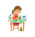 christmas holidays preparation of girl with card vector image vector image