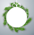 Christmas paper ball on fir branches vector image