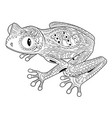 coloring page with frog in zentangle style vector image