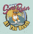 coolest surf rider super dude at beach vector image vector image
