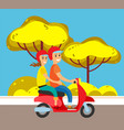 couple on moped or scooter suburban street road vector image vector image