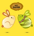Cute bunny Easter eggs jumping vector image vector image