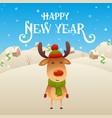 cute cartoon reindeer character happy new year vector image vector image