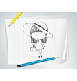 cute girl with hat vector image vector image