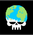earth death skull to planet end world vector image vector image