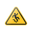fall down stairs warning sign vector image vector image