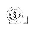 figure businessman with coin cash money in the vector image vector image