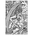 gargoyle engraved fantasy vector image vector image