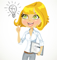 Girl with a electronic tablet idea inspiration