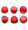 glass 3d buttons red round icons with chrome vector image vector image