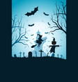 halloween party poster with whitch vector image