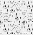 hand drawn cute bear tribal pattern background vector image vector image