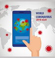 hand human using smartphone with earth planet vector image vector image