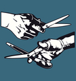 hand with scissor graphics vector image vector image