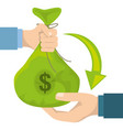 hands holding money bag with coins and bill vector image vector image