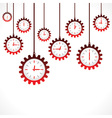Hanging gear shape red clocks vector image