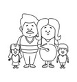 happy young family dad and pregnant mother kids vector image vector image