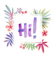 hawaii greeting with tropical leaves frame vector image vector image