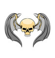 head skull with sharp teeth and metal vector image