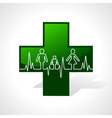 Heartbeat make family icon inside medical symbol vector image vector image