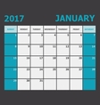 January 2017 calendar week starts on Sunday vector image vector image