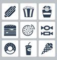 junk food icons set vector image