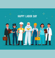 labour day professionals group in uniforms of vector image