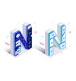 letters n with social networks elements vector image vector image