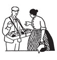 man selling to woman vintage vector image vector image