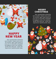 merry christmas and happy new year posters vector image vector image