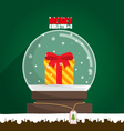 Merry Christmas gift in snow globe vector image vector image