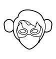 monochrome thick contour head of faceless woman vector image