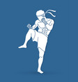 muay thai thai boxing action graphic vector image vector image