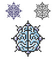 pixel icon brain as central processing unit in vector image vector image