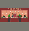 reception service hotel employees welcome guests vector image