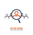recruitment people for work logo hiring vector image vector image