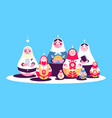 russian traditional nesting dolls collection vector image vector image