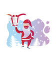 santa claus with medical mask on christmas vector image vector image