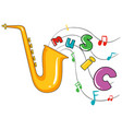 saxophone and word music on white background vector image vector image