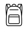 schoolbag or school bag backpack line icon vector image