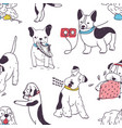 seamless pattern with funny dogs demonstrating bad vector image