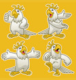 set cartoon funny cockatoo parrot bird vector image vector image