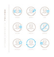 set of social network icons and concepts in mono vector image vector image