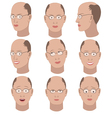 Set of variation of emotions of the same bald man vector image