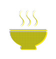 soup sign yellow icon with square pattern vector image vector image